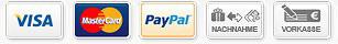 Zahlartenlogos: Visa, Mastercard, Amex, Paypal, SofortÜberweisung, Nachnahme, Vorkasse